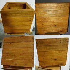 Cachepot rústico em madeira. Medida 40 x 40 x 40
