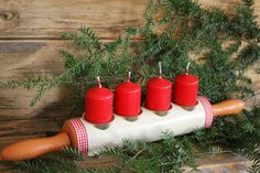 Advent wreath Christmas decoration for Tilda country house upcycling rolling pin UNIKAT, … - Gutzg Sites Christmas Wreaths, Christmas Crafts, Christmas Decorations, Xmas, Advent Wreath, Craft Sale, Ikebana, Pillar Candles, Upcycle