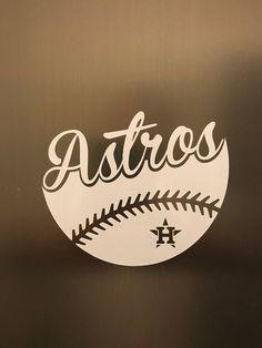 Houston Astros Baseball Vinyl Decal - Car Window / Bumper Sticker - Computer Decal by GetBlastedDesigns on Etsy Baseball Crafts, Baseball Mom, Baseball Shirts, Baseball Nails, Baseball Videos, Baseball Quotes, Baseball Field, Softball, Custom Decals