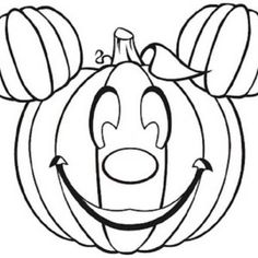 Mickey Surprised Pluto with Halloween Pumpkins Coloring Page | Kids Play Color