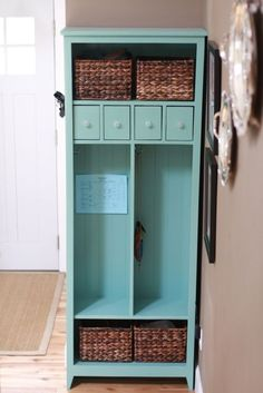 DIY locker cabinet. would be perfect for a mud room or entryway.