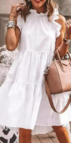 New Season New Dress>>Round Neck Sleeveless Fitted Vacation Dress Jumpsuit With Sleeves, Dresses With Sleeves, Half Sleeves, Vestido Casual, Dress Casual, Casual Wear, Trend Fashion, Women's Fashion, Fashion Online