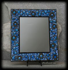 """Ooh La La"" Mosaic Mirror in Blue by Chris Emmert, via Flickr (use of beads)"