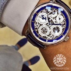 A wonderful @Garrett Jaeger-LeCoultre perpetual calendar skeleton with 8 day power reserve and enamel chapter ring from the Doha Watch Fair