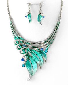 BESTSELLER! Silvertone Aqua Blue Leaf Statement Necklace and Earrings Set Fashion Jewelry $26.99   Love this!