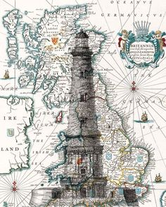 Lighthouse with Antique Map