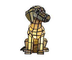 Lampada da tavolo stile Tiffany in vetro e metallo Dog - H 26 cm