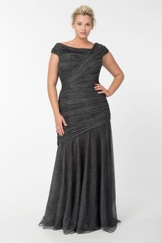 Draped Metallic Tulle Gown in Pewter - Plus Size Evening Shop | Tadashi Shoji