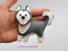 Felt HUSKY DOG stuffed felt Husky dog magnet or ornament Dog