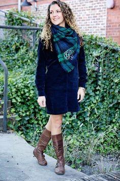 Blanket scarf + Corduroy dress