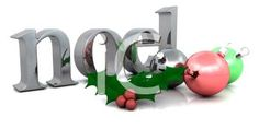 3D Word Art of Noel with Christmas Ornaments