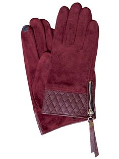 e4bca9d6026 Dents Women's Suede Touchscreen Gloves, leather cuff, Claret. Smart and  elegant soft suede