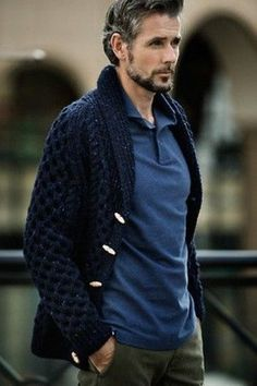 Men's Navy Shawl Cardigan, Olive Chinos, and Blue Polo