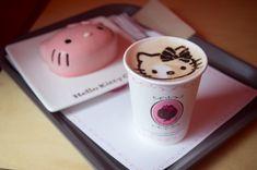 Hello Kitty cake with a Hello Kitty coffee.