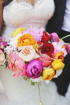 Bold + Brilliant Wedding Bouquet || See the wedding on Style Me Pretty:  http://www.stylemepretty.com/2014/01/06/colorful-chateau-cocomar-wedding/  Photography: Forever Photography Studio