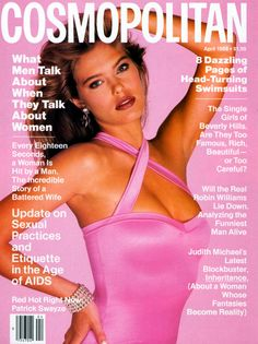 April 1988 cover with Renee Simonsen photographed by the late Francesco Scavullo Magazine Cover Layout, Magazine Covers, Magazine Wall, Kelly Emberg, 1990s Supermodels, Original Supermodels, Francesco Scavullo, Renee Simonsen, Cosmo Girl