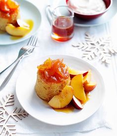 Peach and orange puddings with orange-blossom syrup - Gourmet Traveller