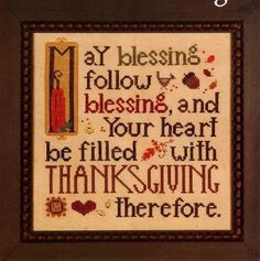 """""""Thanksgiving Blessing"""" Cross Stitch Pattern by HEART IN HAND"""