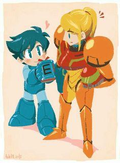 Mega Man & Samus  I want a taller stong girl in my life!