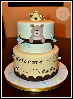 Bear and bees baby Shower Cake