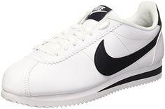 buy online 94e74 ff1f4 Nike Womens Classic Cortez Leather WhiteBlackWhite Casual Shoe 9 Women  US White