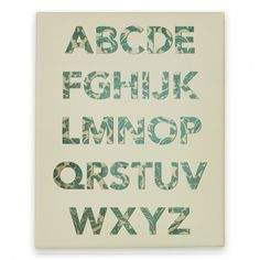 Alphabet Canvas Print (Yellow) #alphabet #letters #design #floral #trendy #canvas #print