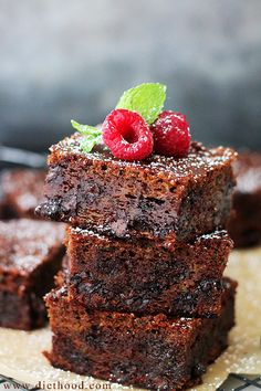 Gluten Free Double Chocolate Zucchini Brownies | www.diethood.com | Decadent and…