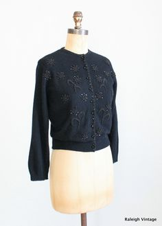 7d3e35f7605 Vintage 1960s Beaded Cardigan   50s 60s Black Wool Beaded Sweater