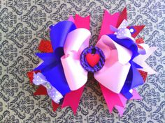 Hey, I found this really awesome Etsy listing at https://www.etsy.com/listing/176570219/valentines-day-hair-bow-over-the-top