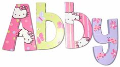 Abby Hello Kitty Hand Painted Wall Letters - for Addi's Room