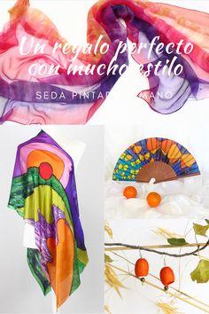 Accesorios exclusivos de seda pintada a mano. Coloridos pañuelos, originales abanicos y joyería creativa realizada con capullos de gusano de seda.