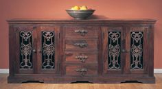 Classic Home Furnishing -Florence Dining Buffet w Grille Doors in Dark Mahogany Finish. Find Furniture, Dining Furniture, Rustic Furniture, Dining Buffet, Wood Buffet, Dining Room, Door Wood, Tuscan Style, Classic House