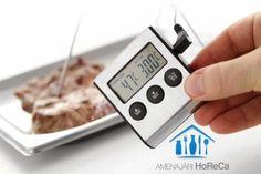 TERMOMETRU CU TIMER  Accesorii bucatarii profesionale, import Olanda.  Termometru bucatarie cu functie timer; Interval temperatura de la -50ºC până la 300ºC; Unitate temperatura ºC sau ºF; Gradație 1ºC; Mod blocare - pentru monitorizarea continua a temperaturii; Functie min/max pentru temperatura; Setare alerta temperatura; Cu sonda din otel inoxidabil, 150 mm, ce poate fi lasata in cuptor (rezistenta la temperaturi inalte); Baterii incluse;