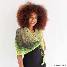 Model / Pattern of Shawl of Woman of Spring / Summer from KATIA Crochet Shawl Free, Knit Crochet, Shawl Patterns, Crochet Patterns, Laine Katia, Chain Stitch, Double Crochet, Crochet Flowers, Crochet Hooks