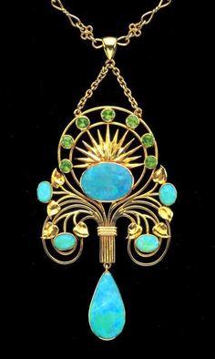 Art Nouveau opal and peridot pendant, ca.1900.