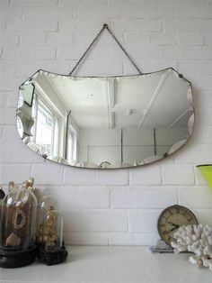Vintage Large Bevelled Edge Art Deco Wall Mirror Frameless Wall Mirror
