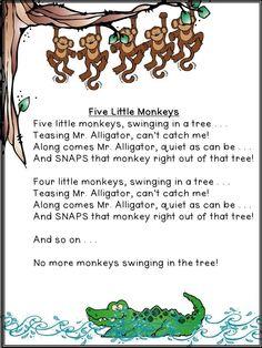 Five Little Monkeys Swinging In A Tree Teasing Mr Alligator - Clipart 5 Little Monkeys Swinging In A Tree Preschool Poems, Kindergarten Songs, Preschool Music, Preschool Activities, Rainforest Activities, Preschool Jungle, Rainforest Theme, Nursery Rhymes Lyrics, Nursery Songs