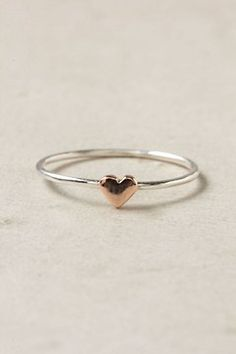 Heart Ring, Rose Gold Wee Heart Ring Love this so much!Wee Heart Ring Love this so much! Dainty Jewelry, Cute Jewelry, Jewelry Box, Jewelry Accessories, Jewelry Necklaces, Jewelry Design, Jewlery, Jewelry Stores, Jewellery Shops