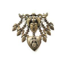 Victorian Revival Heart Locket Brooch - French Baroque, Gold Tone, Dangle Brooch, Victorian Brooch, Heart Locket, Vintage Brooch by zephyrvintage on Etsy