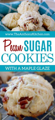 The best cookie recipe!  Perfect for potlucks and parties! This easy sugar cookie is studded with pecans and drizzled with a yummy maple glaze.