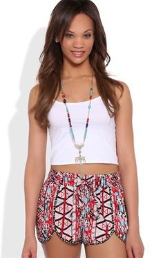 Deb Shops Multicolor Tribal Woven Short with Elastic Tie Waistband