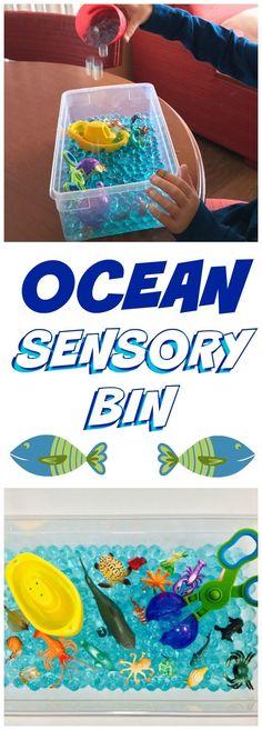 OCEAN SENSORY BIN - with Aqua Water Beads - Includes Bin - Helps with Fine Motors Skills