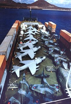 Harriers on SS Atlantic Conveyor during Falklands conflict.