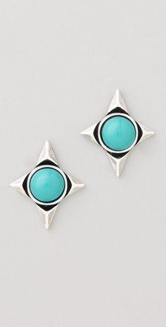 turquoise stud earrings / house of harlow