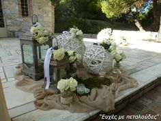 στολισμος γαμου με λινατσα - Αναζήτηση Google Baptism Decorations, Wedding Decorations, Table Decorations, Lanterns Decor, Wedding 2017, Arte Floral, Artificial Flowers, Rustic Wedding, Bouquet