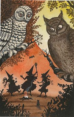 HALLOWEEN POSTCARD  WITCH WHITE OWL CAT