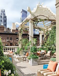 love how the plants are wrapping around the pergola here - kind of a chinoiserie look
