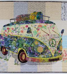 VW Van Art Quilt, Flower Child Quilted Wall Hanging, Vintage Peace Van, Hippie Bus – Folt Bolt Shop