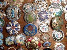 Antique enamel buttons.