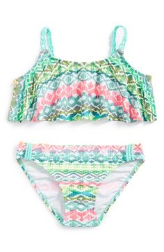 Malibu+Geometric+Print+Two-Piece+Swimsuit+(Big+Girls)+available+at+#Nordstrom